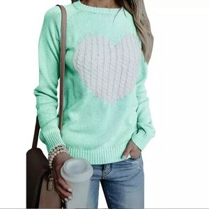✨Mint Green & White Knit Heart Patterned Sweater✨